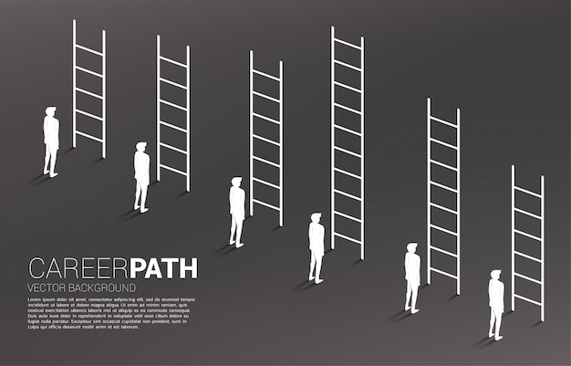 Business concept of competition and challenge. silhouette of businessman group with various high ladder.