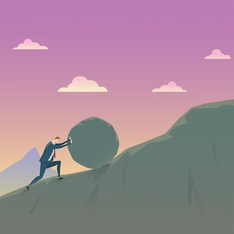 Business concept of conquering adversity businessman pushing a rock uphill.