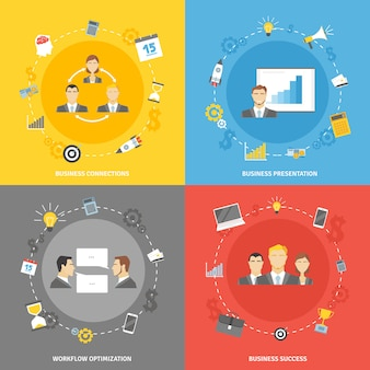Business concept flat icons set