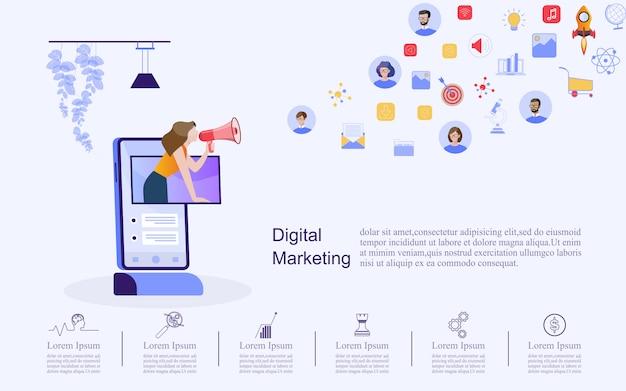 디지털 마케팅을위한 비즈니스 개념입니다.