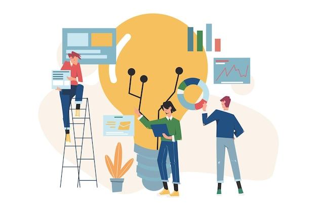 팀워크를위한 비즈니스 개념, 새로운 솔루션 찾기 및 아이디어 생성