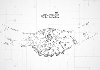 Business concept handshake. Abstract mesh and points