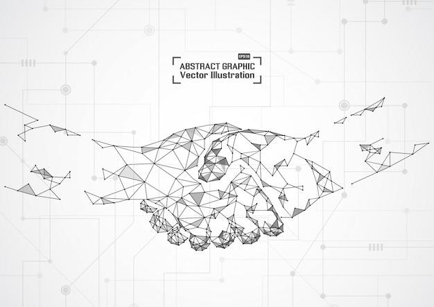 ビジネスコンセプトハンドシェイク。抽象的なメッシュとポイント
