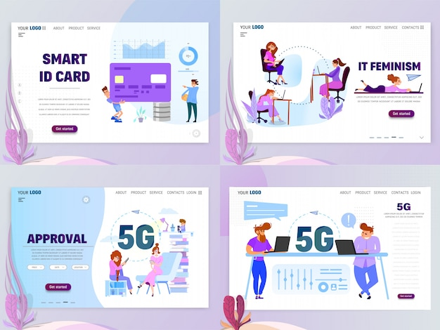 Business concept home smart cards and 5g landing page templates. isolated objects