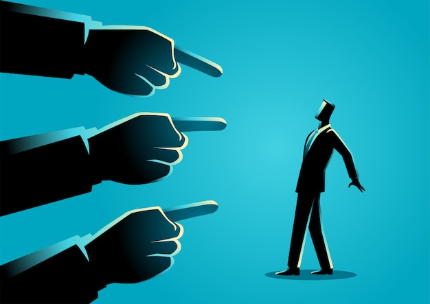 Business concept illustration of a businessman being pointed by giant fingers