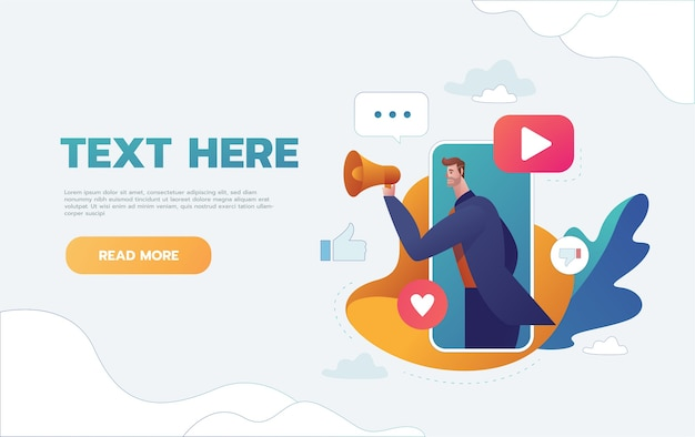 Business concept illustration of a businessman holding a megaphone coming through from smart phone. digital marketing, communication, advertisement concept.