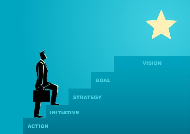 Business concept illustration of a businessman steps on stairs to success