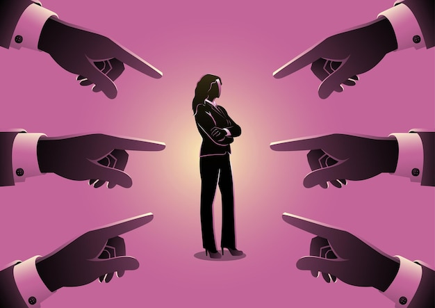 Business concept illustration of a businesswoman being pointed by giant fingers
