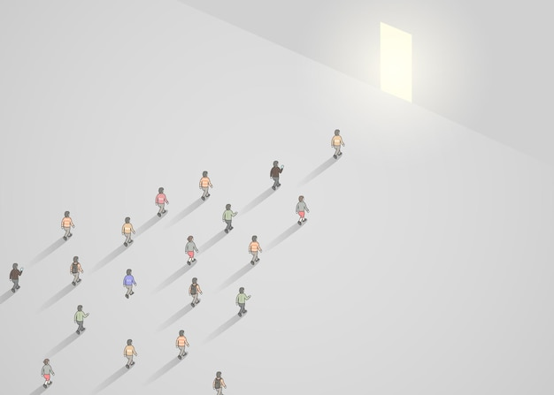 Business concept illustration of crowd of people walking into narrow door