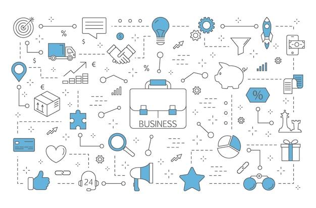 Иллюстрация бизнес-концепции. идем к успеху. идея совместной работы и лидерства. набор финансовых иконок. изолированная линия