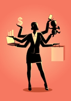 Business concept illustration for multitasking