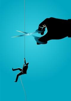 ロープを切るはさみで巨大な手がロープに登るビジネスコンセプトのイラスト