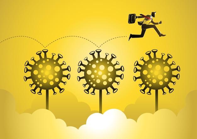 Covid19를 통해 점프하는 사업가의 비즈니스 개념 그림. 글로벌 비즈니스 개념