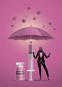 Бизнес-концепция иллюстрации бизнесмена под зонтиком с вирусом короны covid-19 вокруг
