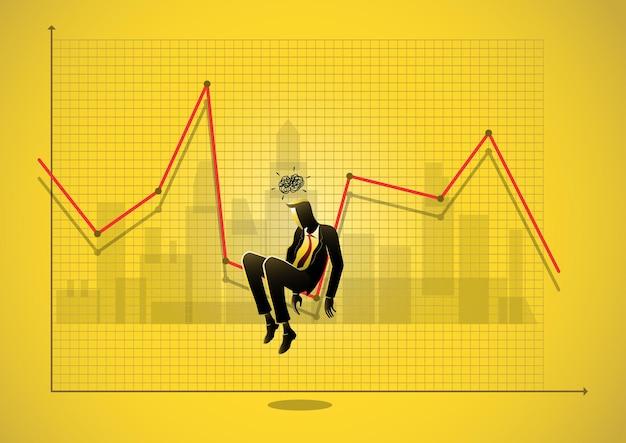 ストレスの多いビジネスマンのビジネスコンセプトの図は、チャートの下向き矢印の下に座っています。