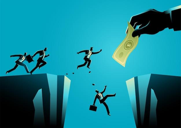 Иллюстрация бизнес-концепции бизнесменов, пытающихся достать деньги гигантской рукой, разделенной оврагом