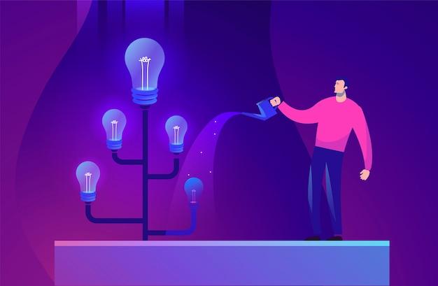 남자와 나무 아이디어의 비즈니스 개념 그림