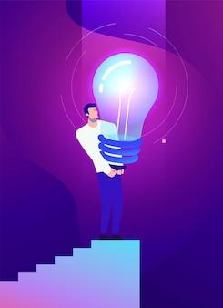 강한 남자와 창의적인 아이디어의 비즈니스 개념 그림