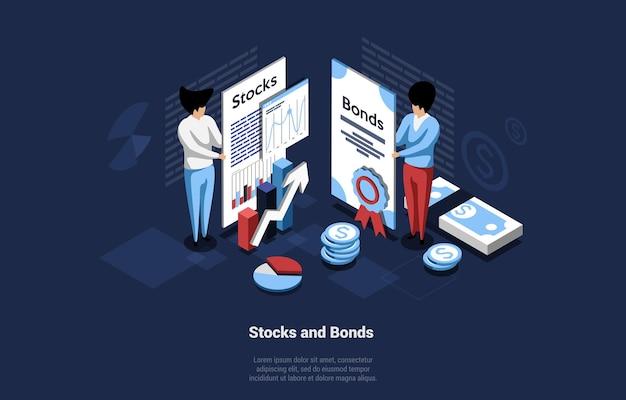 Business concept illustration of stocks and bonds on dark