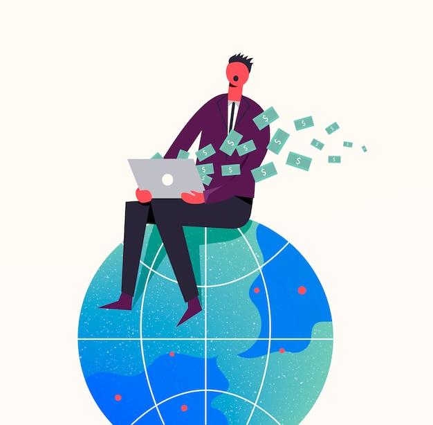 ビジネスコンセプトイラスト。地球上の定型化されたキャラクター。インターネット、フリーランス、オンラインビジネスでお金を稼ぐ。