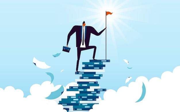 ビジネスコンセプトイラスト、本で作られた彼のキャリアのはしごを登るに適した男