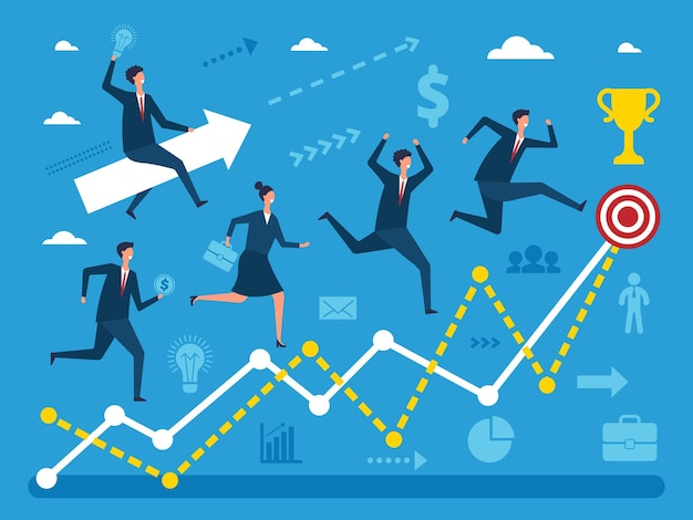 Business concept illustration of various peoples running to big goal. visualizations of performance steps.