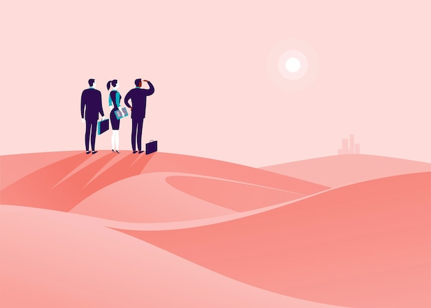 砂漠の丘に立って、地平線の街を見ているビジネスマンとビジネスコンセプトイラスト。新しい目的、目標、目的、成果と願望、モチベーション、克服のための比喩