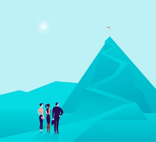 山の写真に立って、上で見ているビジネスの人々のチームとビジネスコンセプトのイラスト。成長の比喩、新しい目的と目標、チームワークとパートナーシップ、願望、モチベーション。