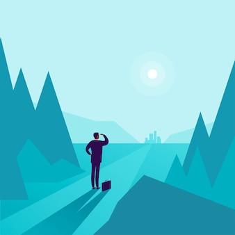 森の端に立って、地平線の街を見ているビジネスマンとビジネスコンセプトイラスト。新しい目的、目標、目的、成果と願望、モチベーション、克服のための比喩。