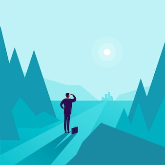 Business concept illustration with businessman standing at forest edge and watching on horizon city. metaphor for new aims, goals, purpose, achievements and aspirations, motivation, overcoming.
