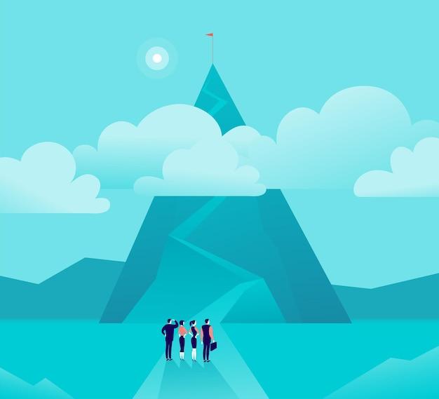 산 앞에 서있는 기업인 여성과 비즈니스 개념 그림