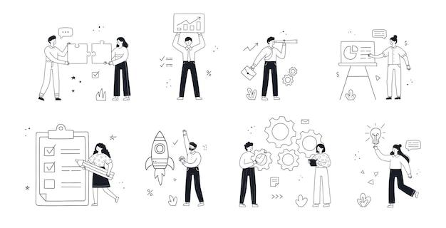 ビジネスコンセプトイラストセット。事業活動に参加している人々とのシーン集。ベクトル線形落書きスタイル。
