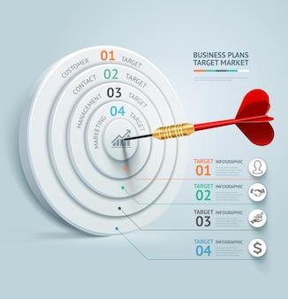 ビジネスコンセプトのインフォグラフィックテンプレート。ビジネスターゲットマーケティングダーツのアイデア。