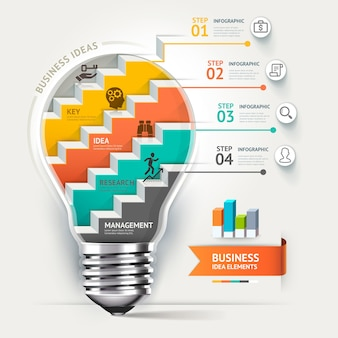 ビジネスコンセプトのインフォグラフィックテンプレート。電球の階段のアイデア。 Premiumベクター