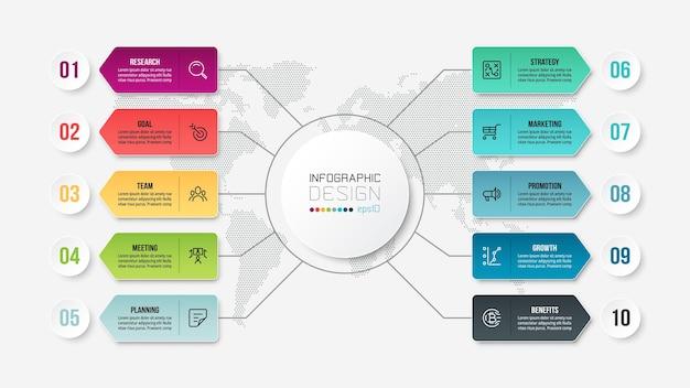 図とビジネスコンセプトインフォグラフィックテンプレート