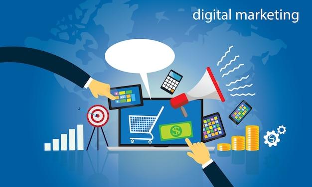 Бизнес-концепция. интернет-вектор цифрового маркетинга