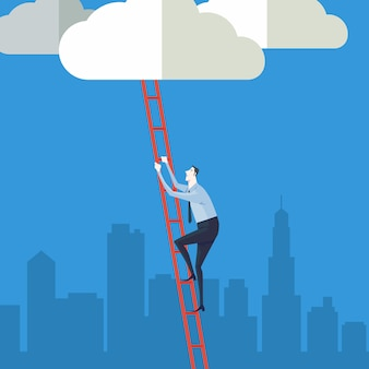 Business concept a ladder corporate of success.