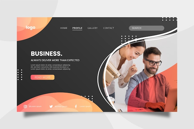 Business concept landing page with people