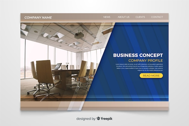 Business concept landing page with photo