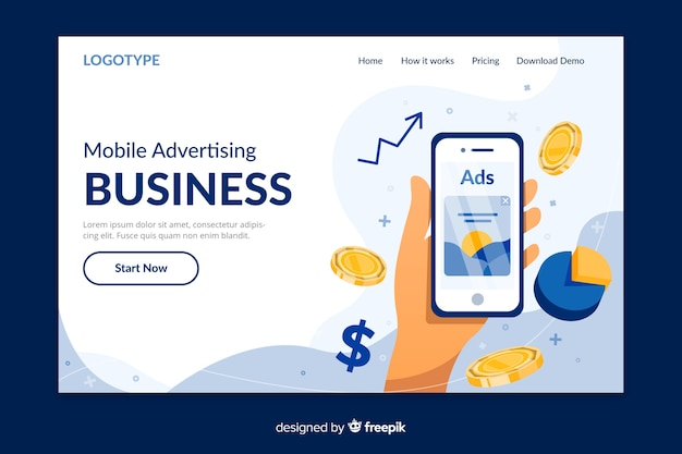Business concept landing page