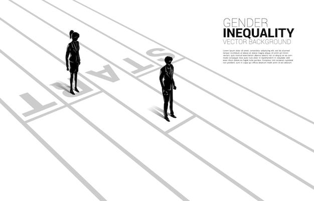 성별 경쟁의 비즈니스 개념. 경주 트랙에서 시작 라인에서 실행할 준비가 사업가 및 비즈니스 여성의 실루엣 비즈니스에서 성 불평등과 여성 경력의 장애물의 개념