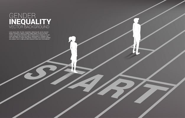 성별 경쟁의 사업 개념입니다. 경주 트랙의 시작 라인에서 실행할 준비가 사업가 및 비즈니스 여성의 실루엣. 비즈니스에서 불평등의 개념