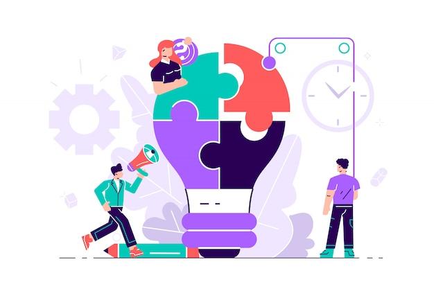 전구 퍼즐을 가진 사람들의 사업 개념입니다. 팀 은유. 퍼즐을 연결하는 사람들. 웹 페이지, 소셜 미디어, 문서, 카드, 포스터 플랫 스타일 일러스트. 팀워크, 관리.