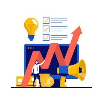 이익, 성장, 캐릭터 성공의 비즈니스 개념. 위로 향하여. 방향 위쪽 화살표 근처에 서 사업가입니다.