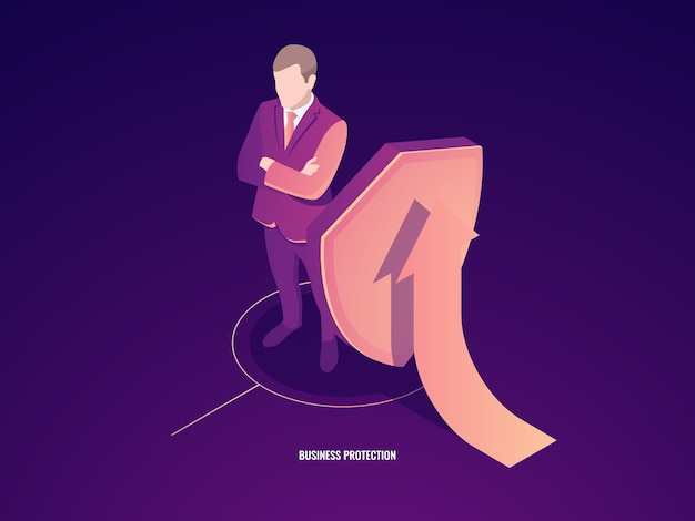 Бизнес-концепция успеха и безопасности, чемодан с щитом и стрелка вверх