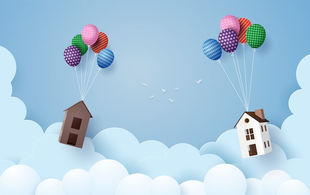 Business concept paper house hanging with colorful balloon ,