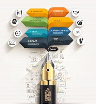 Business concept. pen and bubble speech arrow template.