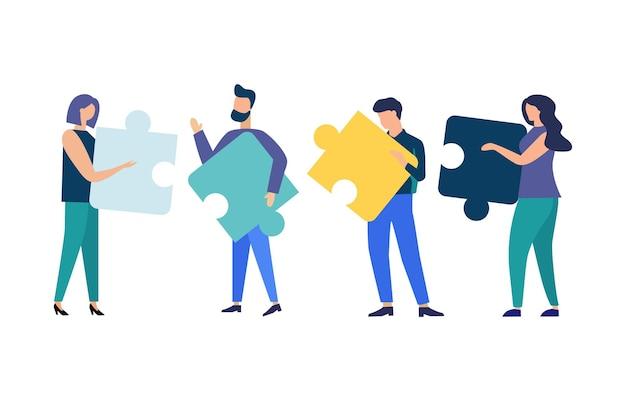 ビジネスコンセプト人々はパズルのピースを接続しますチームの比喩チームワークのベクトルフラットスタイルのシンボル
