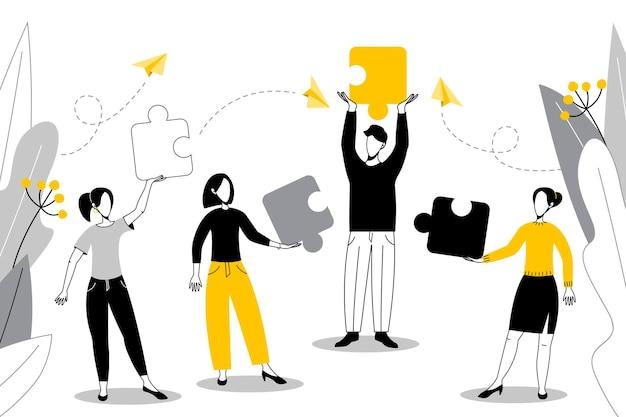 ビジネスコンセプトパズルの要素をつなぐ人々。フラットスタイルのチームワーク協力パートナーシップイラスト