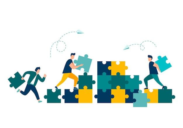 パズルのピースをつなぐビジネスコンセプトの人々チームワーク協力パートナーシップのシンボル